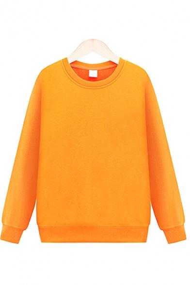 Basic Mens Sweatshirt Solid Color Cotton Ribbed Hem Pullover Cuffed Thick Crew Neck Long Sleeve Regular Sweatshirt