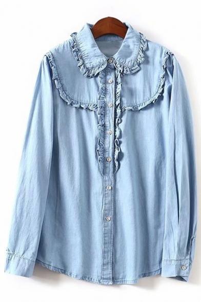 Peter Pan Collar Long Sleeve Button Down Plain Denim Shirt