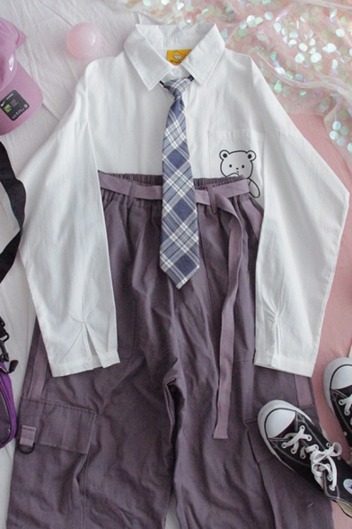 Stylish Women's Shirt Blouse Cartoon Bear Printed Button-down Point Collar Long Sleeve Regular Fitted Shirt Blouse