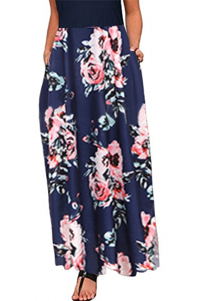 Summer Chic Floral Printed Cold Shoulder Round Neck Maxi Holiday Beach Dress