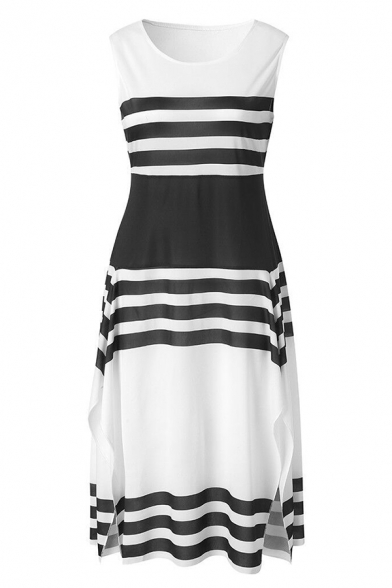 Women's New Style Round Neck Sleeveless Stripes Printed Midi Swing Tank Dress