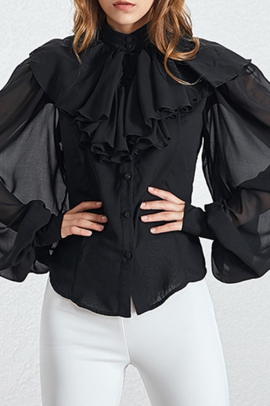 Pretty Womens Shirt Chiffon Solid Color Sheer Blouson Sleeve Stand Collar Ruffled Button Up Regular Fit Shirt in White