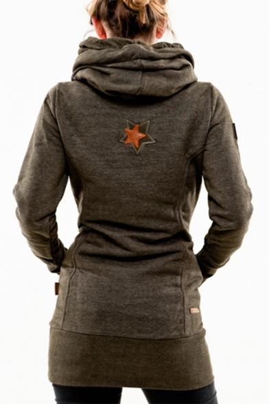 Slim Drawstring Hood Long Sleeve Panel Tunic Hoodie