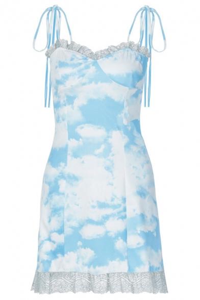 Womens Stylish Blue and White Tie-Dye Printed Self Tie Strap Lace Trim Mini A-Line Slip Dress