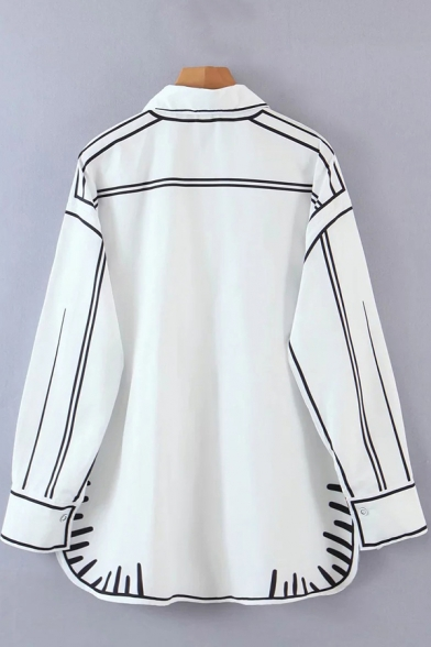 Chic Womens Shirt Contrasted Pipe Long Sleeve Turn Down Collar Button Up Loose Fit Shirt in White