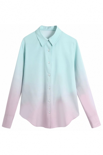 Colorful Button-down Spread Collar Long Sleeve Slim Fitted Shirt for Women