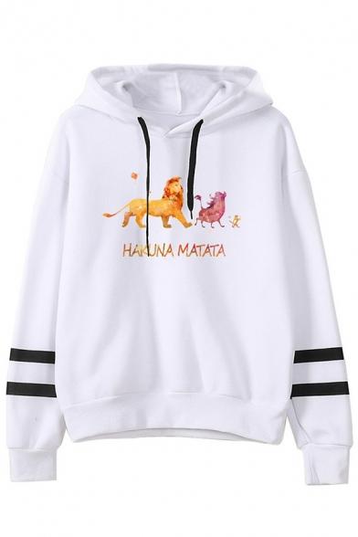 New Stylish Drawstring Hood HAKUNA MATATA Letter Lion Printed Long Sleeve Hoodie