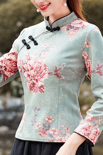 Retro Womens Shirt Peony Pattern Suede Slanting Frog Button Detail Long Sleeve Mandarin Collar Slim Cheongsam Top