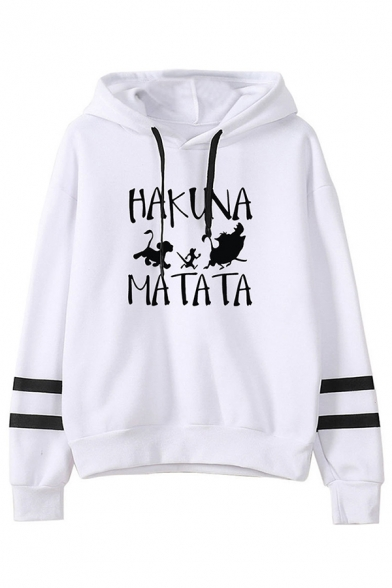 White Cool Popular Long Sleeve Drawstring Letter HAKUNA MATATA The Lion King Printed Baggy Hoodie for Girls