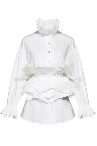 White Stylish Shirt Patchwork Long Sleeve Stand Collar Button Up Regular Fit Shirt Top for Girls