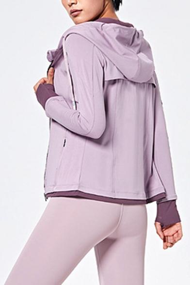 Elevated Women's Hoodie Contrast Panel Zip Closure Long Sleeve Drawstring Hooded Sweatshirt