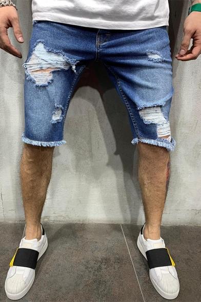 Men's Summer New Stylish Light Blue Slim Fit Casual Denim Shorts