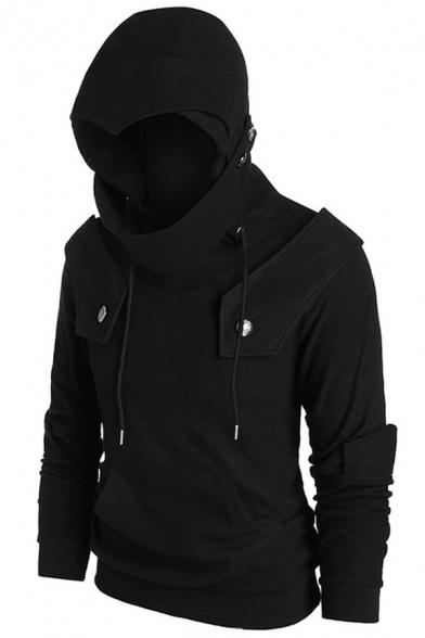 Mens Cool Studded Embellished Long Sleeve Black Plain Hoodie with Pocket