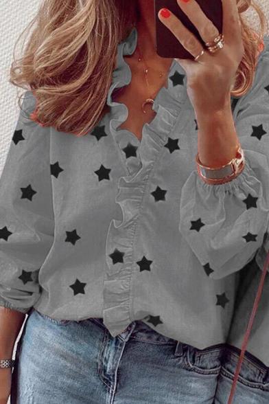 Trendy Women's Shirt Blouse All over Star Print Ruffle Hem V Neck Long Sleeve Regular Fitted Shirt Blouse