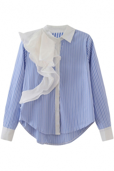 Womens Fashion Shirt Stripe Printed Ruffled Panel Long Sleeve Spread Collar Curved Hem Button Up Relaxed Shirt in Blue