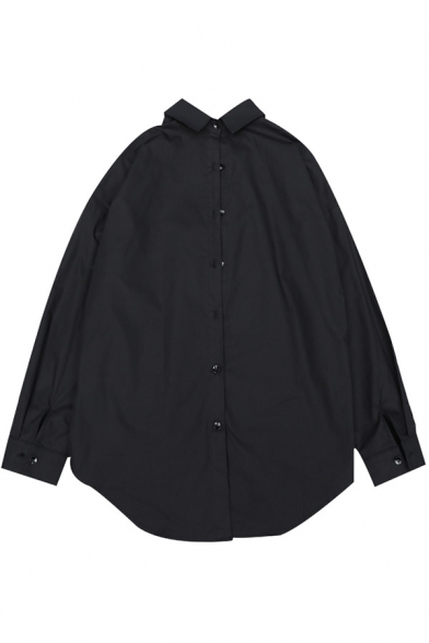 Basic Womens Shirt Long Sleeve Turn Down Collar Button-up Plain Relaxed Fit Shirt in Black