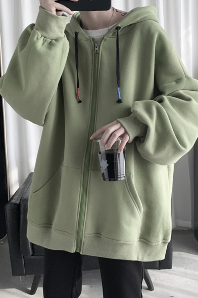 Chic Mens Hoodie Color Block Drawstring Zipper up Relaxed Fit Long Sleeve Hoodie