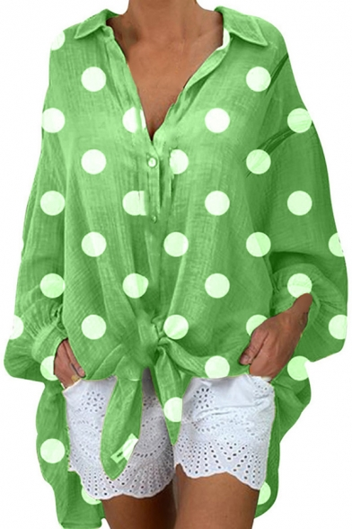 Womens Shirt Stylish Polka Dot Pattern Button up Turn-down Collar Tunic Loose Fit Long Sleeve Shirt