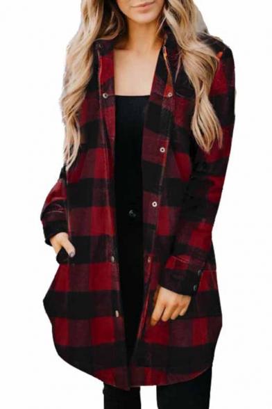 Popular Girls Shirt Plaid Print Long Sleeve Spread Collar Button Up Tunic Loose Fit Shirt Top