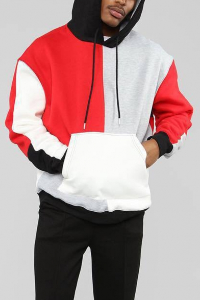 Stylish Mens Hoodie Colorblock Long Sleeve Drawstring Pouch Pocket Loose Fit Hoodie