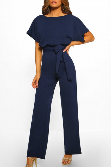 Elegant Formal Blue Short Sleeve Round Neck Bow Tie Waist Straight Long Work Jumpsuits for Ladies
