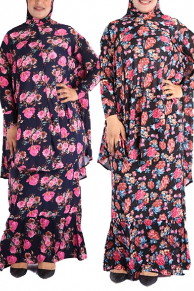 Ethnic Womens Dress All Over Floral Print Long Sleeve Hooded Tiered Maxi Oversize Dress
