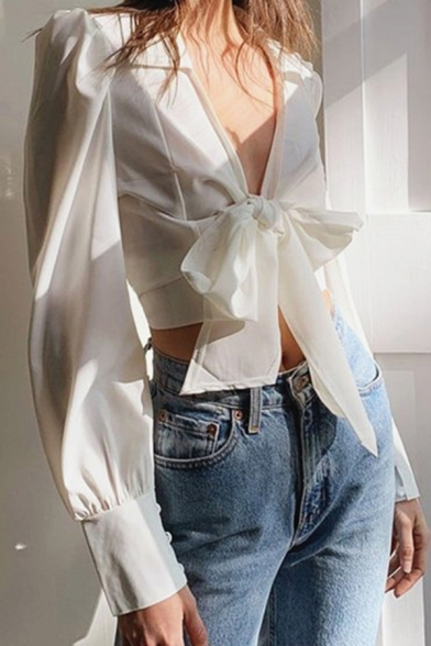 Pretty Ladies Shirt White Long Sleeve Spread Collar Bow-tied Front Fit Crop Shirt Top
