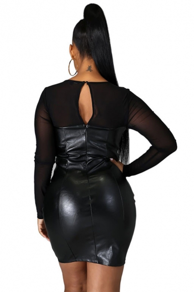 Womens Leather Dress Stylish Mesh Patchwork Round Neck Mini Long Sleeve Mini Slim Fit Bodycon Dress