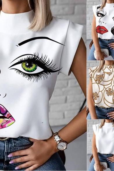 Chic Womens Shirt Eyelash Lip Plant Pattern Plain Cap Sleeve Stand Collar Loose Fit Tee Top