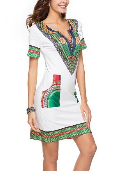 Ethnic Womens Dress Flower Printed Short Sleeve Deep V-neck Short A-line Dress