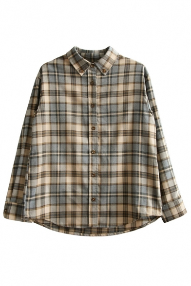 Womens Casual Long Sleeve Lapel Collar Button Down Checkered Printed Loose Fit Shirt in Khaki