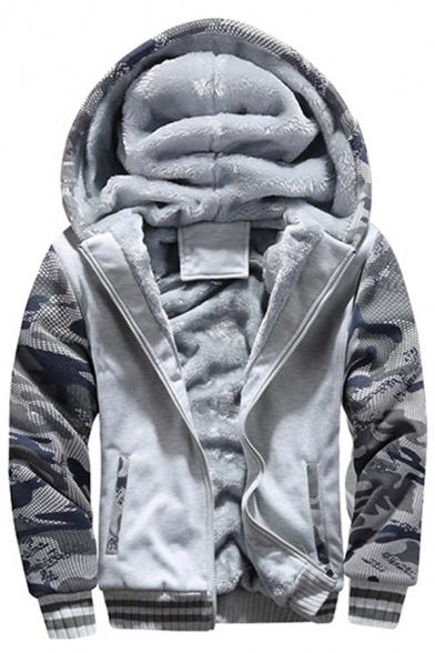 Fashionable Mens Hoodie Camo Panel Thickened Zipper down Long Sleeve Slim Fit Hoodie
