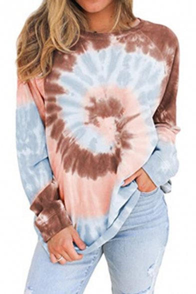 Trendy Womens T-Shirt Spiral Tie Dye Relaxed Fit Round Neck Long Sleeve T-Shirt