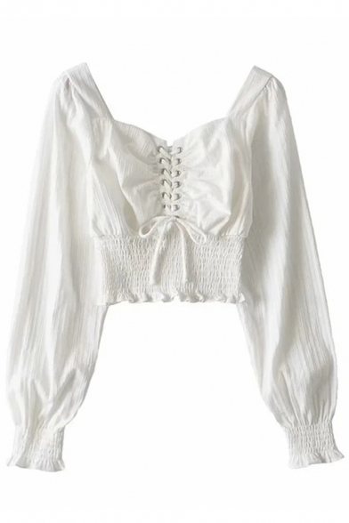 Womens Shirt Stylish Lace-up Front Shirred Waist Square Neck Slim Fit Long Sleeve Pullover Shirt
