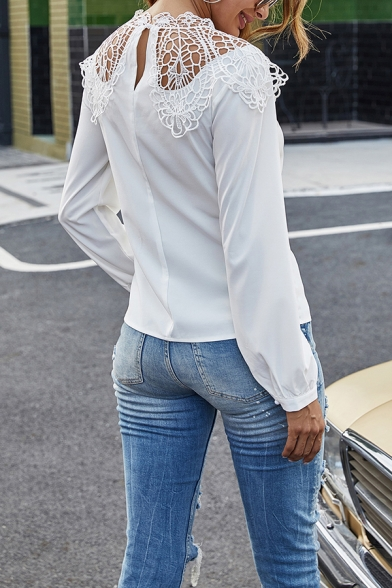 Chic Womens Shirt Crochet Patched Long Sleeve Crew Neck Relaxed Fit Shirt Top in White