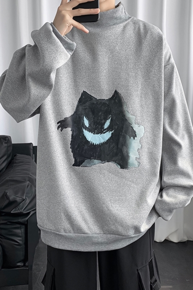 Fashionable Mens Sweatshirt Cartoon Pattern Long Drop-Sleeve Relaxed Fit Mock Neck Sweatshirt