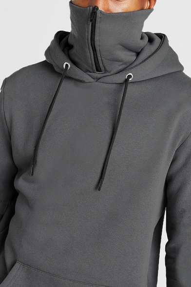 Leisure Mens Hoodie Solid Color Long Sleeve Drawstring Zip Up High Neck Loose Fit Hoodie