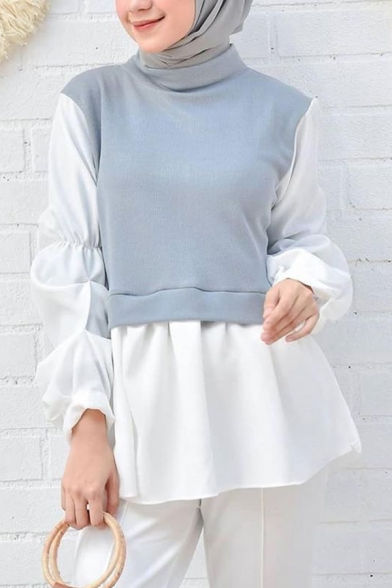Middle East Shirt Patched Long Sleeve Relaxed Fitted Shirt for Women