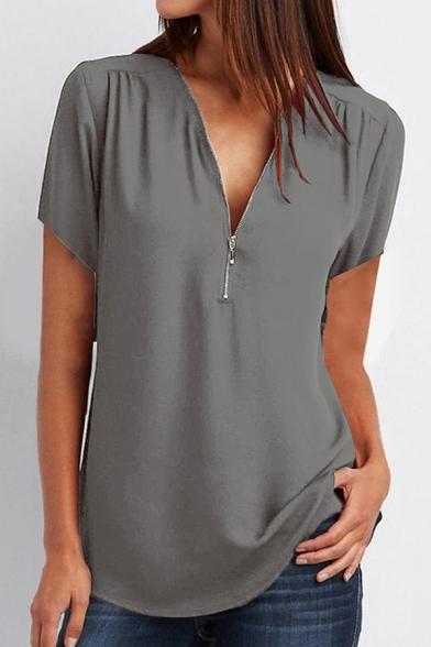 Classic Womens Shirt Plain Color Chiffon Zipper Loose Fit Short Sleeve V Neck Tee Top