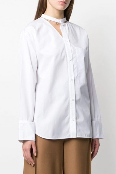 Basic Ladies Shirt White Long Sleeve Crew Neck Cut Out Button Up Relaxed Fit Shirt Top