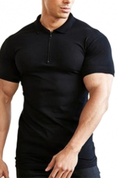 Cool Muscle Guys Short Sleeve Lapel Collar Button Up Slim Fitted Designer Polo Shirt
