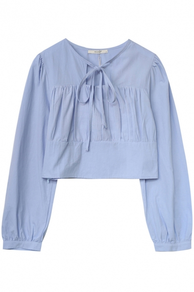 Trendy Womens Shirt Solid Color Long Sleeve Oversize Tie Neck Cropped Pullover Shirt