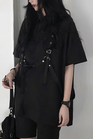 Womens Street Shirt Black Half Sleeve Turn Down Collar Button Up Straps Decoration Loose Fit Shirt Top