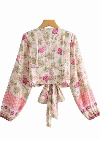 Fashionable Womens Shirt Flower Printed Long Sleeve Deep V-neck Tied Front Regular Crop Shirt Top in Pink