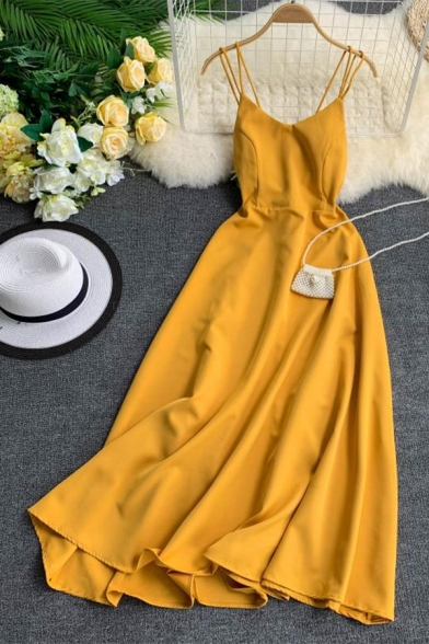 Simple Womens Solid Color Backless High Waist V Neck Spaghetti Straps Sleeveless Midi A-Line Cami Dress with Slit