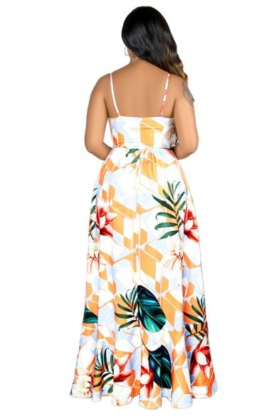 Classic Womens Beach Dress Tropical Plant Pattern Deep V Neck A-Line Slim Maxi Slip Dress
