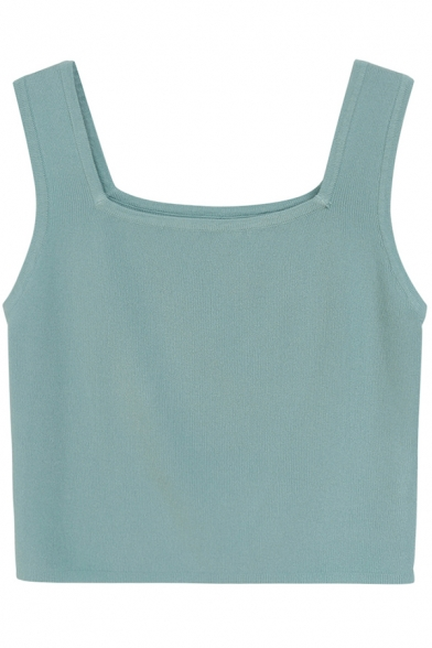 Womens Knitted Tank Top Stylish Plain Color Sleeveless Slim Fit Bottoming Cropped Tank Top