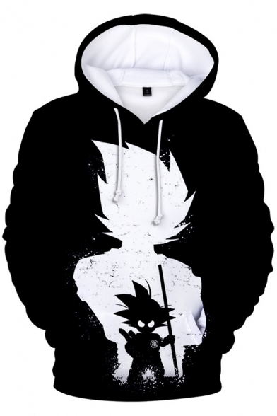 Cool 3D Comic Character Print Long Sleeve Black Casual Hoodie