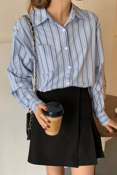 Formal Womens Shirt Stripe Printed Long Sleeve Spread Collar Button Up Loose Fit Shirt Top in Blue