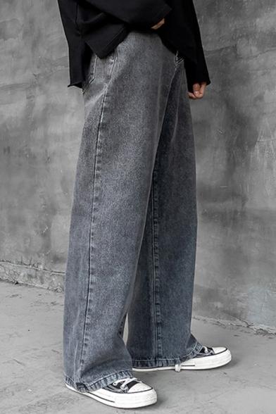 Street Boys Jeans Bleach Solid Color Mid Waist Long Length Wide-leg Jeans